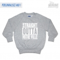 Photo My-minimi Brand SWEATSHIRT à personnaliser -Straight Outta- Gris et blanc