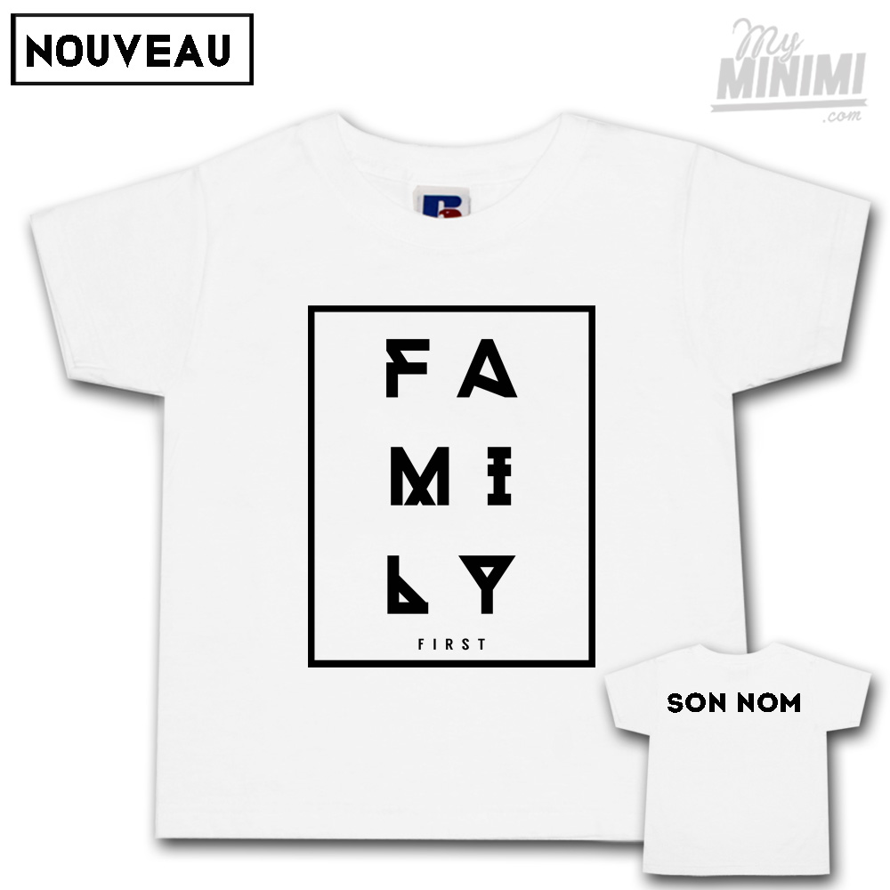 Photo My-minimi Brand tee-shirt Family 1st personnalisé pour enfant et parents - Blanc