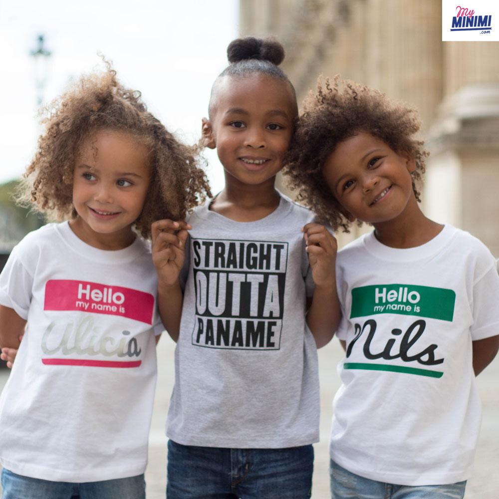 dbd233be4ce7b ... Photo My-minimi Brand Tee Shirt Hello My Name Is pour enfant - Blanc