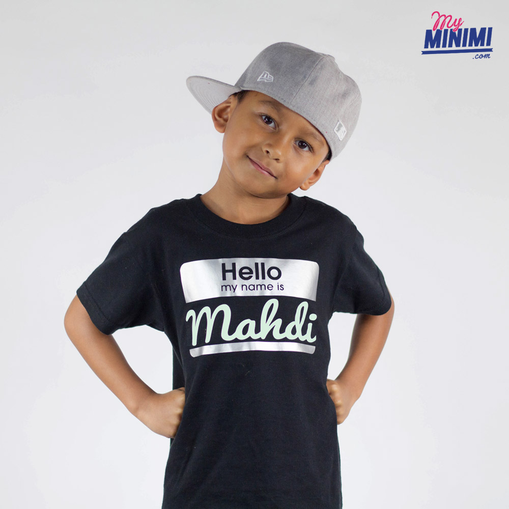 e09ca0936b17f Photo My-minimi Brand Tee Shirt Hello My Name Is pour enfant - Noir et ...