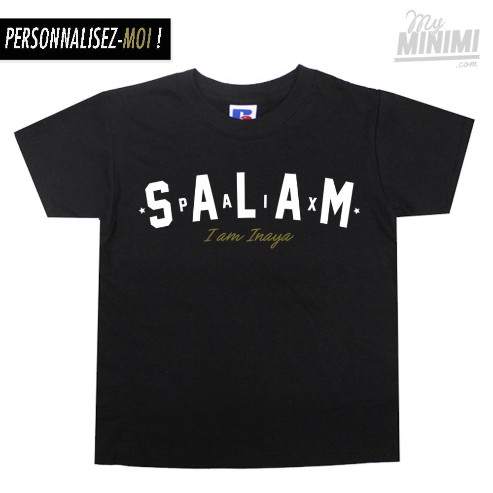 158490bd472e4 ... Photo My-minimi Brand Tee-shirt Salam personnalisé pour enfants et  parents - Noir