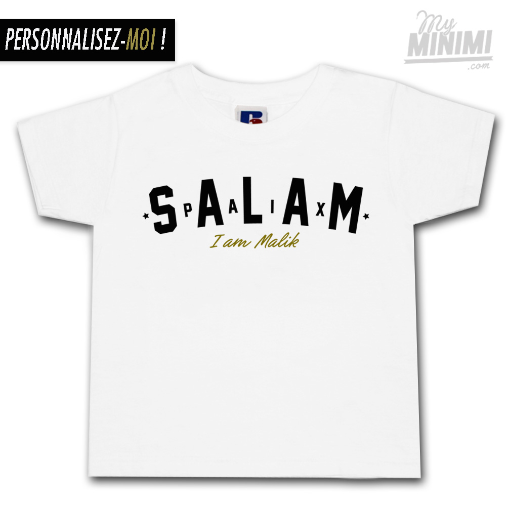 730333d0013a5 ... Photo My-minimi Brand Tee-shirt Salam personnalisé pour enfant et  parents - Blanc