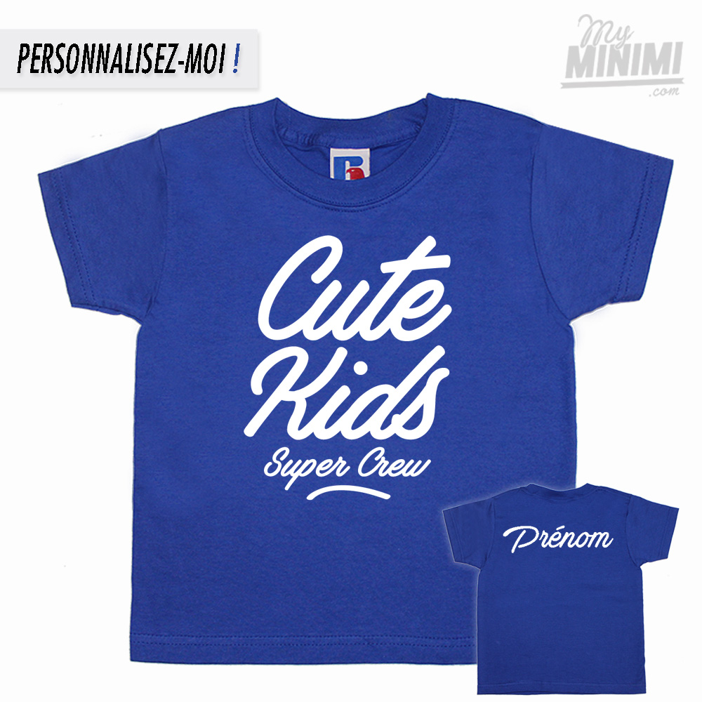 Photo My-minimi Brand Tee shirt Cute Kids FAT logo pour enfant - bleu