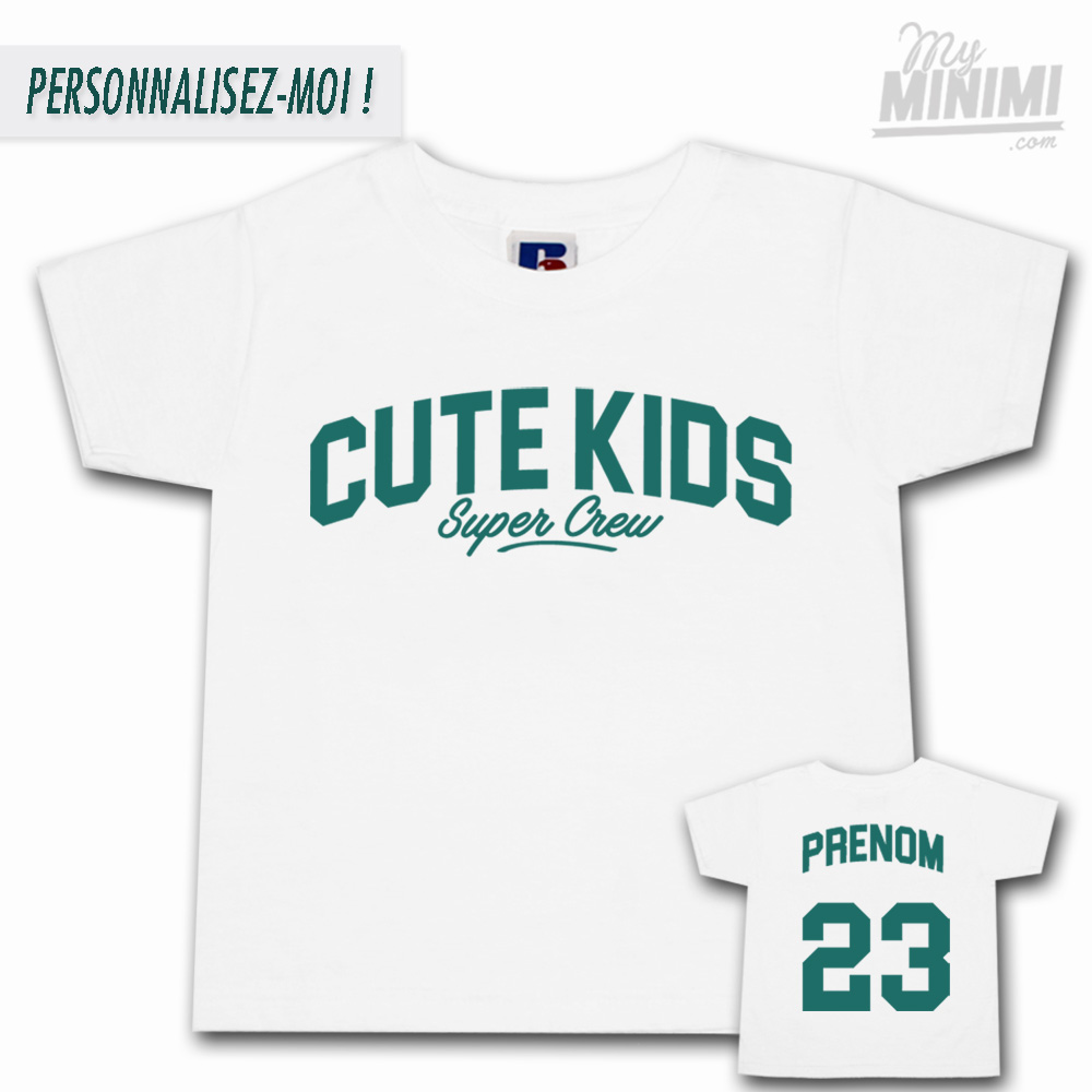 Photo My-minimi Brand Tee shirt Cute Kids Sport pour enfant - Blanc et aqua