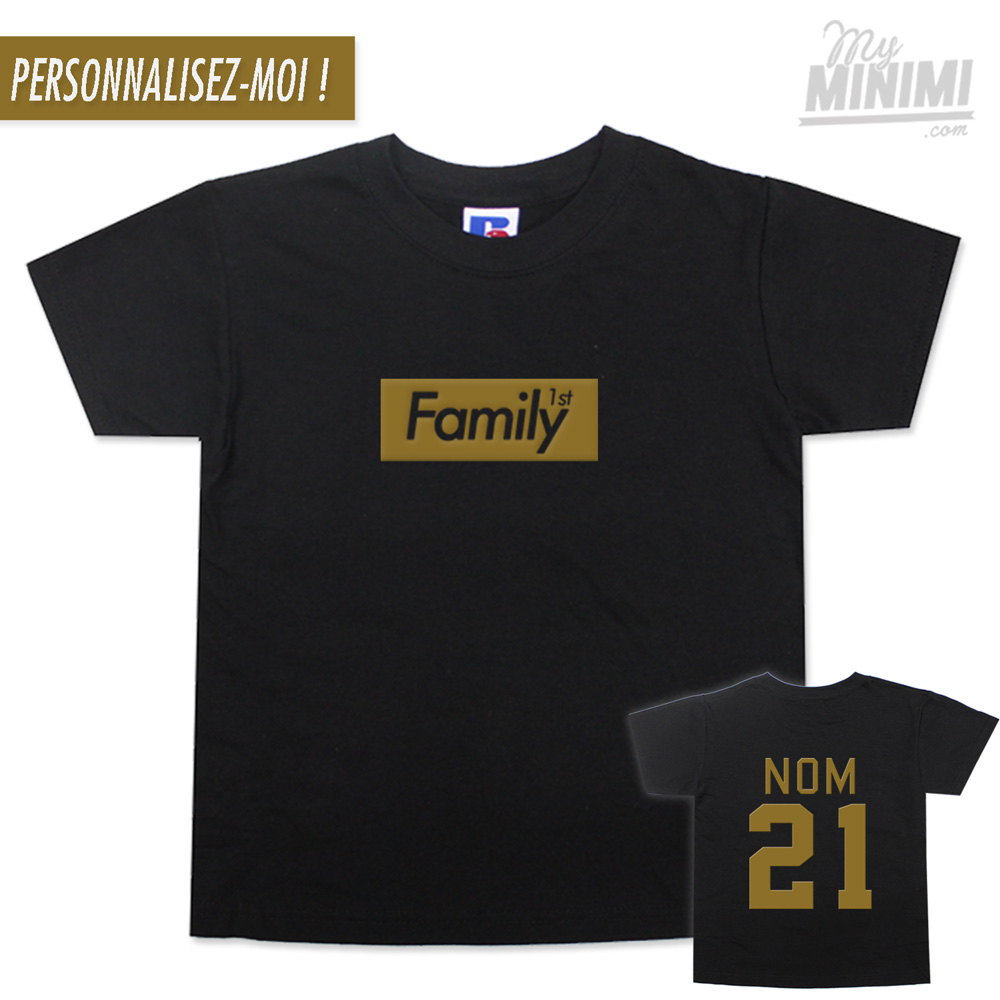 Photo My-minimi Brand Tee shirt Family 1st Box Logo pour enfant - Noir et or