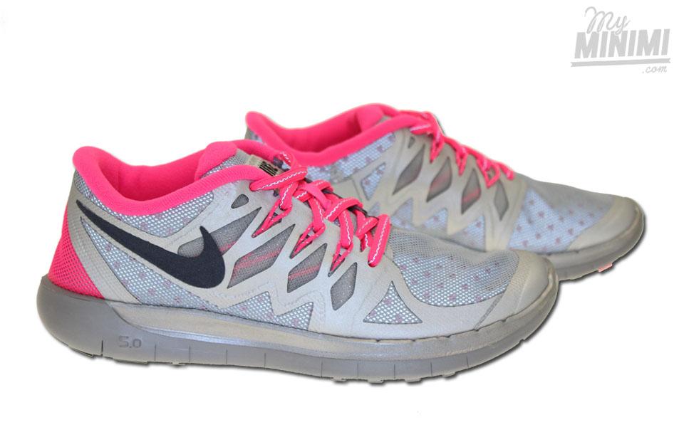 ... Photo Nike Free 5.0 Flash - Chaussures enfant du 36 au 38 - Gris et  rose ...