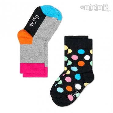 Happy Socks chaussettes enfant 2 Pack Big Dots - Noir et multicolore