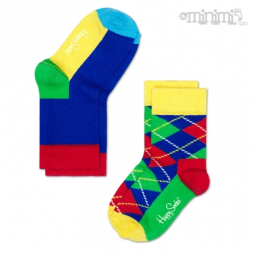 Happy Socks chaussettes enfant 2 Pack Argyle - Multicolore