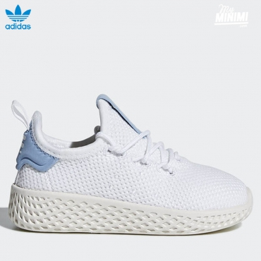 adidas originals Hu Pharrell Williams - baskets enfant du 19 au 27- blanc et bleu clair