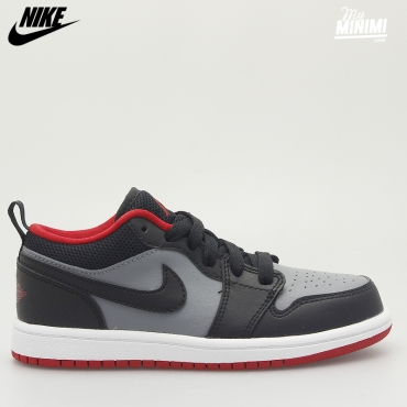 Jordan 1 Low - Baskets enfants GS du 37.5 au 40 - Gris, noir et rouge