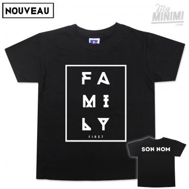 My-minimi Brand tee-shirt Family 1st personnalisé pour enfant et parents - Noir et blanc