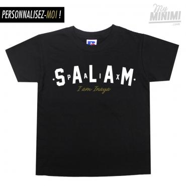 My-minimi Brand Tee-shirt Salam personnalisé pour enfants et parents - Noir