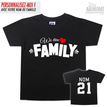 My-minimi Brand Tee Shirt We Are Family pour enfants & parents- noir et blanc