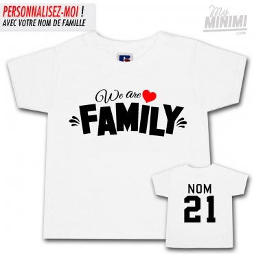 My-minimi Brand Tee Shirt We Are Family pour enfant - blanc et noir