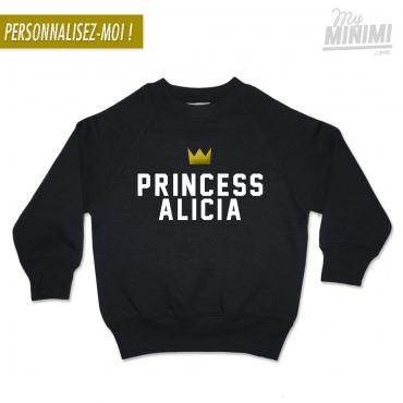 My-minimi Brand SWEATSHIRT personnalisé Princess pour enfant - noir et blanc