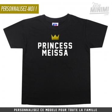 My-minimi Brand tee shirt personnalisé Princess pour enfant et parents - noir et blanc