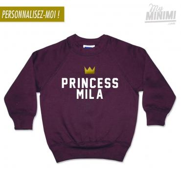 My-minimi Brand SWEATSHIRT personnalisé PRINCESS pour enfant - bordeaux et blanc