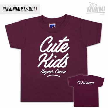 My-minimi Brand Tee shirt Cute Kids FAT logo pour enfant - bordeaux