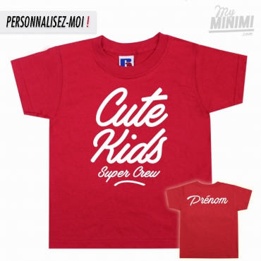 My-minimi Brand Tee shirt Cute Kids FAT logo pour enfant - Rouge