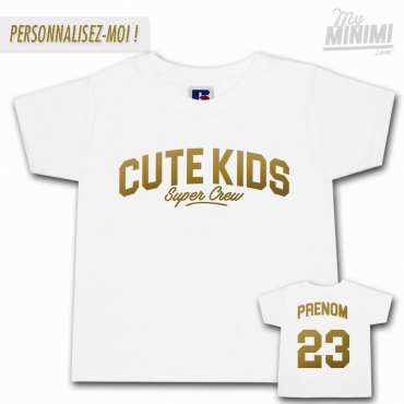 My-minimi Brand Tee shirt Cute Kids Sport pour enfant - blanc et or