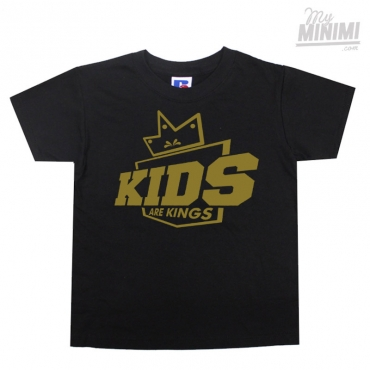 My-minimi Brand Tee Shirt Kids are kings à personnaliser pour enfant - Noir et or