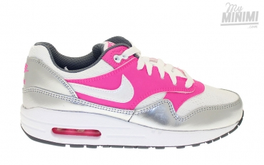 Nike Air Max 1 Gs, Blanc-Gris-Rose, 36