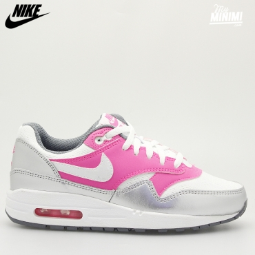 Nike Air Max 1 GS - Baskets enfant du 36 au 40 - Blanc, gris et rose