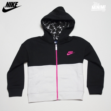 Nike club fleece full zip hoodie Noir Blanc et Rose