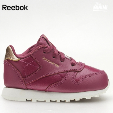 Reebok CL Leather - Basket enfants du 19 au 27 - Berry