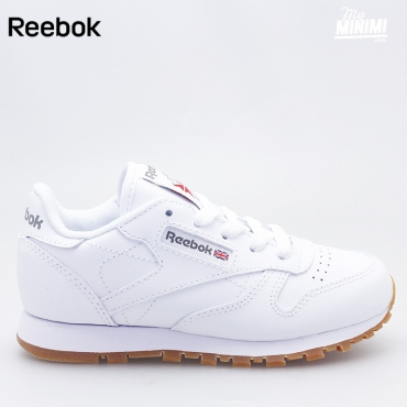 Reebok CL Leather - Basket enfants du 27 au 32 - blanc & gum