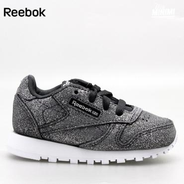 4ec7bb42efa19 Reebok Classic Leather - Basket enfants du 19 au 27 - Grise pailletées foncé