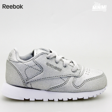 Reebok Classic Leather - Basket enfants du 19 au 27 - Grise pailletées