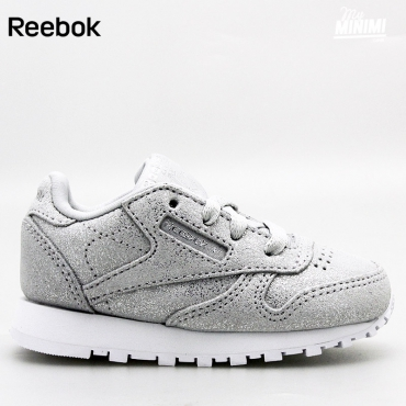 Reebok Classic Leather - Basket enfants du 19 au 27 - Grise pailletées clair