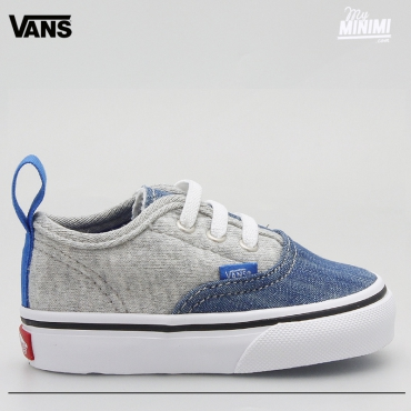 Vans Authentic V Lace grises et jean - baskets enfants du 19 au 26