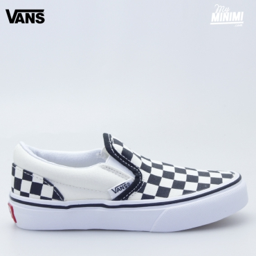 vans slip on blanche carreau