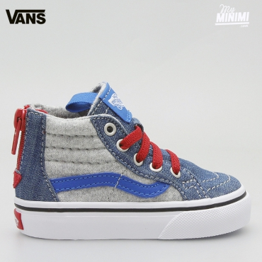 Vans SK8-HI ZIP (JERSEY & DENIM) Bleues - baskets enfants du 19 au 26