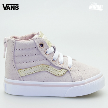 Vans SK8-HI ZIP MTE - baskets enfants du 19 au 26 - rose sepia et or metallic