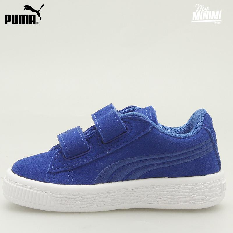 puma classic suede baskets enfant du 19 au 27 bleu. Black Bedroom Furniture Sets. Home Design Ideas