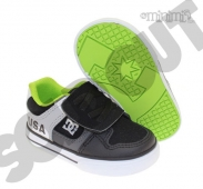 DC Shoes Pure V - baskets enfant (Toddler) à scratch - Noir, gris, blanc et vert